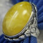 Yellow Peking Glass hand craft 1 Antique leaf 0925 Sterling Silver Ring size 6