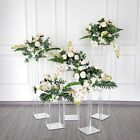Clear Crystal Rectangular Stand Flower Vase Column Wedding Home Decorations Sale