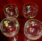 Four Etched  Hand Painted vineyard grapes 81 2 Vintage Goblets Wine Glasses