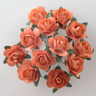 Small Orange Mulberry Paper Rose Flowers 15mm With Wire Green Bendy Stem Craft