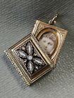 ANTIQUE VICTORIAN GOLD FILLED ENAMEL BOOK CHARM FOB LOCKET PENDANT WITH PHOTO
