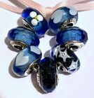 Pandora Murano 7 Glass Beads Blue Hearts Flowers Stars Sterling Silver Cores