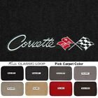 Lloyd Mats Classic Loop Corvette Word Flags Logo Floor Mats 1963-1965