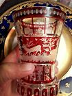 Bohemian Ruby Red Etched And Cut Glass Antique Vase 4 3 4 Tall