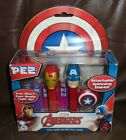 Pez Marvel Avengers Captain America with Spinning Shield & Iron Man Twin Pack