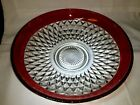 Vintage Indiana Glass 13 Kings Crown Diamond Point Red Ruby Flash Serving Bowl