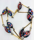 Long Millefiori Glass and Bar Beaded Necklace Large Beads Vintage Jewelry