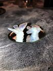 Sabino Frances Pair of Mini Birds Mini Art Glass France Opalescent With Mirror