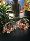 Pair of Vintage Pink Depression Glass Candle holders With Scrolls