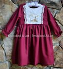 Smocked A Lot Girls Christmas Dress Burgundy Red Silver Nativity Scene Manger