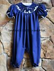 Smocked A Lot Girls Christmas Nativity Bubble Navy Blue Manger Scene Dress