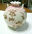 Gorgeous Peach Blow Vase with Enamel Flowers and Branches Unknown Maker