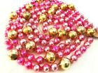 Beautiful Antique Pink  Gold Glass Beads Garland Christmas Vintage Ornament