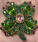 Vintage Hobe Open Back Glass Green Pink Rhinestone Clover Flower Brooch Pin