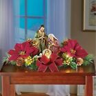 Tabletop Nativity Scene With Poinsettias  Pine Cone Berries Lighted Decoration