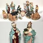 Vtg Atlantic Mold Nativity Set 16 pc Artist Hand Painted Christmas Ceramic NICE