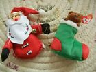 Christmas Ty Beanie Babies Little Bear in Stocking & Santa Claus tree ornaments