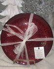 Set of 4 Glass Glitter Red Christmas Turkish Holiday Lunch Plates 85 NEW