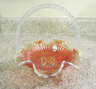 Fenton French Opalescent Marigold Glass Embossed Butterfly Basket new in box