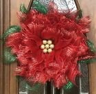 Red Green Gold Poinsettia Flower Christmas Wreath Holiday Wreath Best Seller