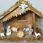 Vintage Christmas Nativity Set with Barn Manger Made in Italy 8 Figurines Bark