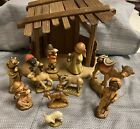 10 PIECE ANRI FERRANDIZ NATIVITY WOOD CARVED FIGURES 3 SET