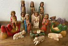 Vintage Hand Carved Nativity Set 16 Piece Wood Band Painted
