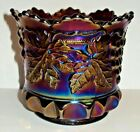 Antique Northwood Carnival Glass Amethyst Grape Cable Sugar Bowl No Lid