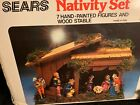 Vintage Sears Christmas 7 hand painted Figures  Wood Stable Nativity Set