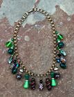 LOVELY ART DECO BOHEMIAN PEACOCK FOIL GLASS BEADS NECKLACE ON BRASS BOOK CHAIN