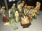 Vintage Nativity Set 9 Jumbo CS Columbia Statuary Italy Chalkware 15 Pieces