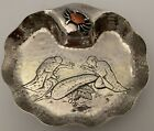 WHITING AESTHETIC FIGURAL STERLING MIXED METAL CRAB DISH WHIMISICAL CHASING