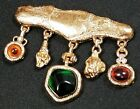 Large Vintage Signed GIVENCHY Textured Gold Tone Glass Dangle Charm Pin Brooch