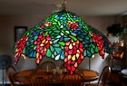 STAINED GLASS TIFFANY STYLE WISTERIA GRAPES CHANDELIER HANG LAMP 20 D x 10 H