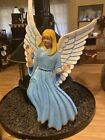 VINTAGE Bronners Fiberglass Life Size Nativity Yellow Hair White Wing ANGEL