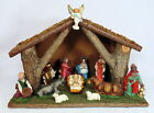 Vintage Christmas Nativity Set Figurines And Wood Stable Manger