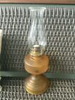 Vintage Embossed Design Amber Glass Kerosene Oil Hurricane Lamp 18 Tall