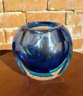 Vintage Murano Sommerso Sapphire Blue Faceted Glass Geode Vase Mid Century MCM
