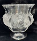 Lalique France Dampierre Frosted Art Glass Crystal Vase Sparrows Candy Bowl Urn
