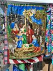 Nativity and Patriotic wall hanging lap quilt Christmas theme with hanging pole