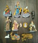 Vintage Ceramic Christmas NATIVITY SET Sheep Men Mary Baby Jesus Lot of 12