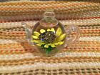 Paper Weight Tea Pot Yellow Flower Art Glass Beautiful