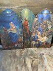 3 Piece Vintage Cardboard Nativity Cut Outs pre owned