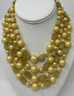 Vintage Golden Yellow Pearl Satin Glass Multi Strand Bead Collar Necklace