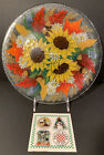 Peggy Karr Signed Fall Flowers Daisy Art Glass Tray Platter 11 Sunflower