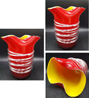 Stunning Vintage Red Murano Glass Vase with Applied Clear Glass SpiralOrnament