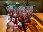 VINTAGE BIOT FRENCH ART BUBBLE GLASS AMETHYST GOBLET