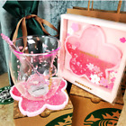 Starbucks Lovely Cats Claw 6oz Sakura Cup Glass w Pink Sakura Coaster  Stick