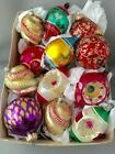 VTG WEST GERMANY POLAND MERCURY GLASS HAND PAINTED INDENT XMAS TREE ORNAMENT LOT