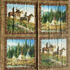 Vintage Native American Indian Print Fabric Panel Cranston 45 x 71 2 Panels